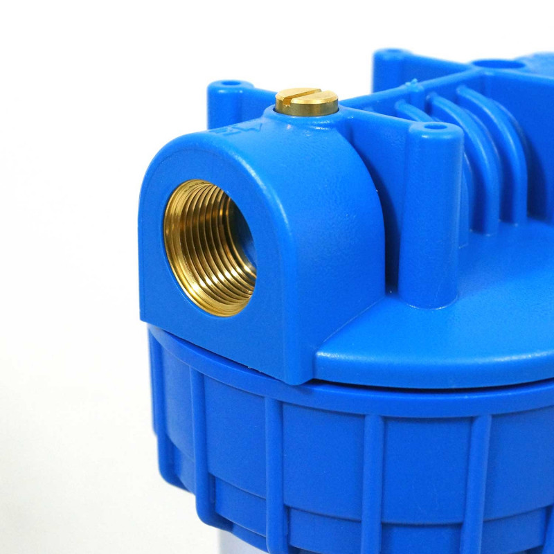 Filtre a eau 9''3/4 en trois parties insert laiton 1'' - 26/34 bol transparent