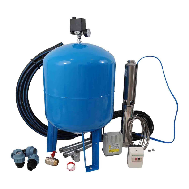Kit forage complet avec pompe 4'' 230V 0,55Kw, protection thermique et accessoires